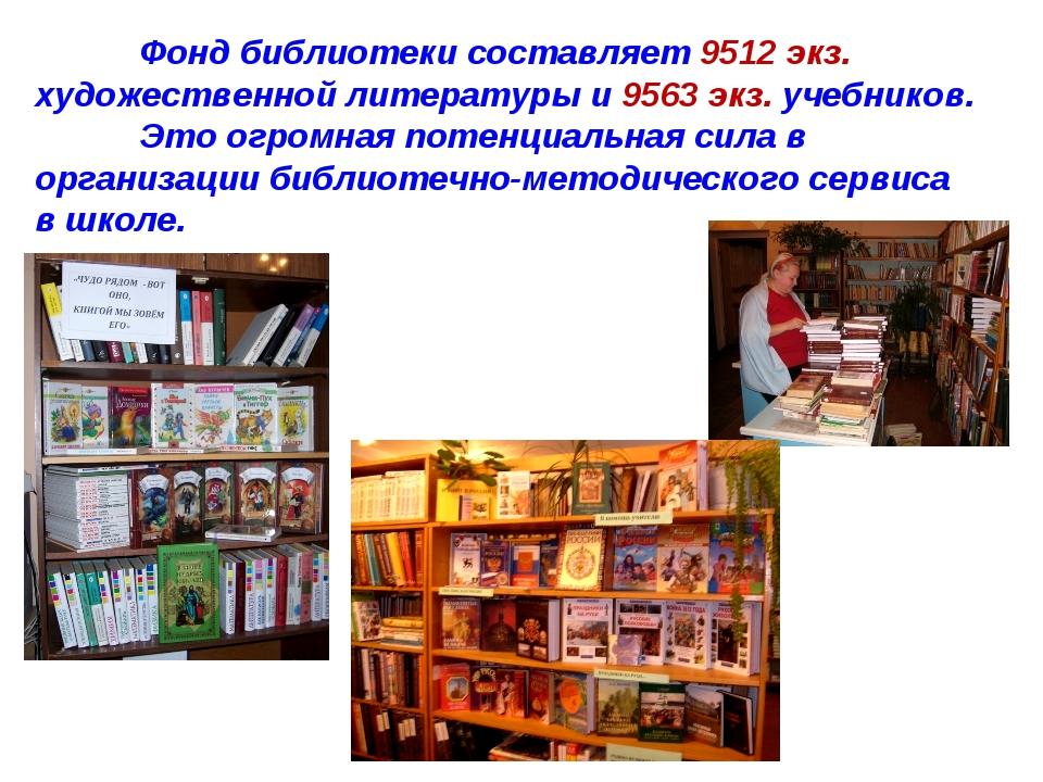 Фонд библиотеки составляет 9512 экз. художественной литературы и 9563 экз. у...