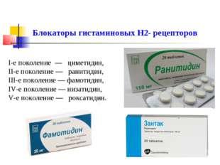 I-е поколение — циметидин, II-е поколение — ранитидин, III-е поколение — фамо