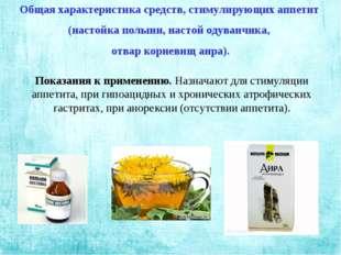 Общая характеристика средств, стимулирующих аппетит (настойка полыни, настой