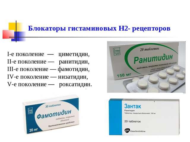 I-е поколение — циметидин, II-е поколение — ранитидин, III-е поколение — фамо...