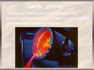 Цель урока: Выявить зависимость размещения металлургических баз от места поло