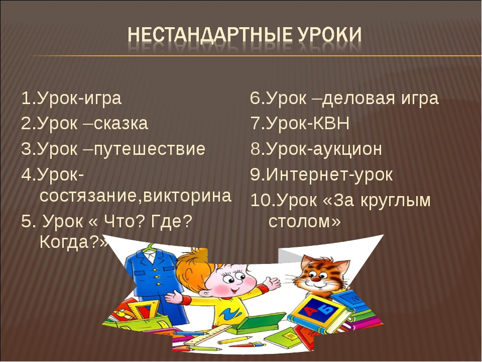 1.Урок-игра 2.Урок –сказка 3.Урок –путешествие 4.Урок-состязание,викторина 5....