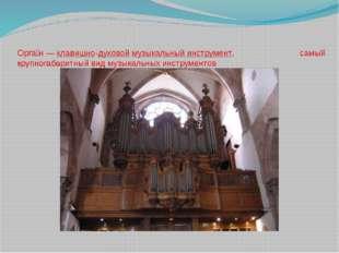 Орга́н—клавишно-духовоймузыкальный инструмент, самый крупногабаритный вид