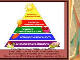 Рассмотрим пирамиду потребностей А.Маслоу. По его мнению средний человек удов