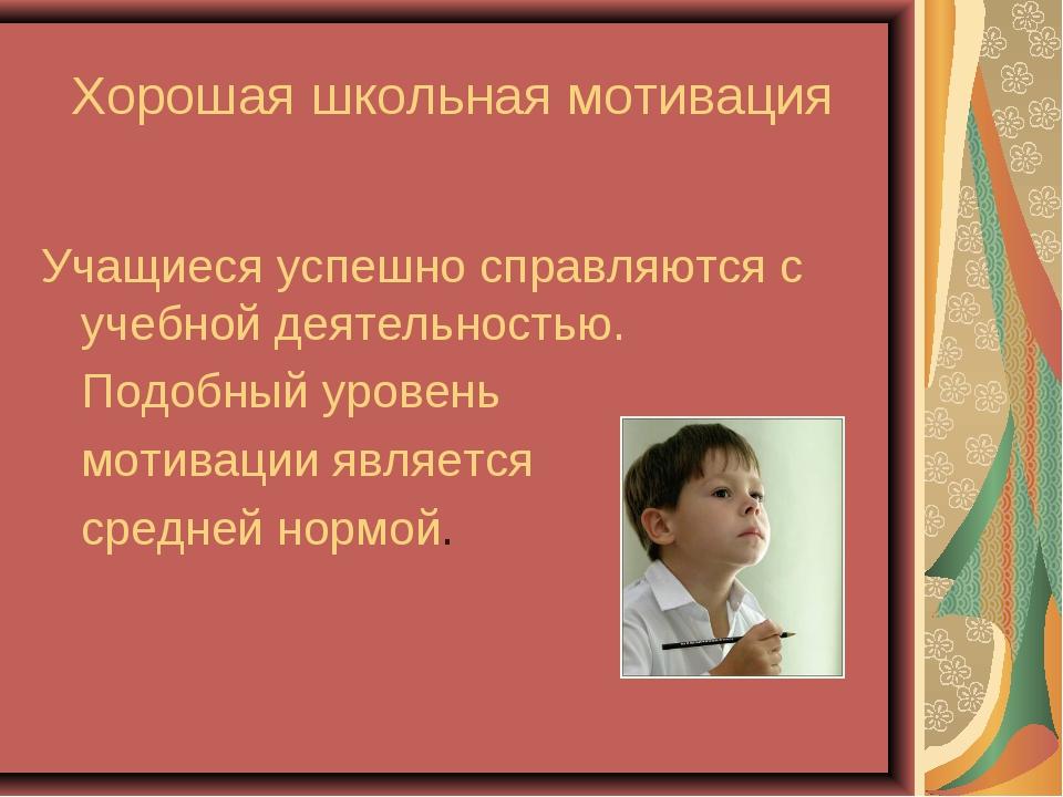 Хорошая школьная мотивация Учащиеся успешно справляются с учебной деятельност...