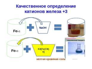 Качественное определение катионов железа +3 жёлтая кровяная соль Fe+3 NaOH Fe