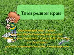 Твой родной край Окружающий мир, 4 класс филиал МБОУ Ржаксинской сош №1 имени