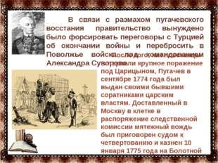 … В связи с размахом пугачевского восстания правительство вынуждено было фор