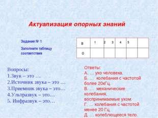 Актуализация опорных знаний Задание № 1 Заполните таблицу соответствия Вопрос