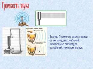 Вывод: Громкость звука зависит от амплитуды колебаний: чем больше амплитуда к