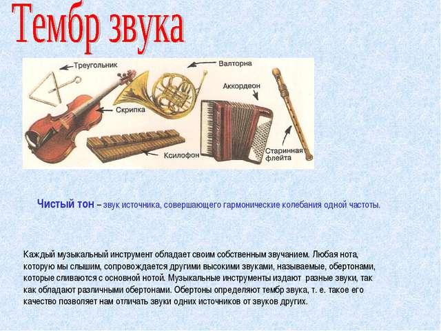 Каждый музыкальный инструмент обладает своим собственным звучанием. Любая нот...