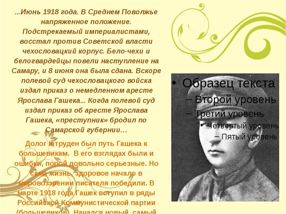...Июнь 1918 года. В Среднем Поволжье напряженное положение. Подстрекаемый и...