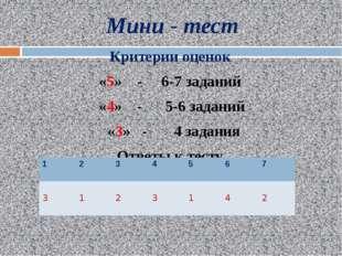 Мини - тест Критерии оценок «5» - 6-7 заданий «4» - 5-6 заданий «3» - 4 задан