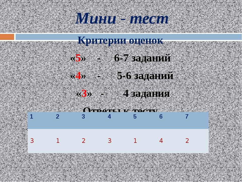 Мини - тест Критерии оценок «5» - 6-7 заданий «4» - 5-6 заданий «3» - 4 задан...