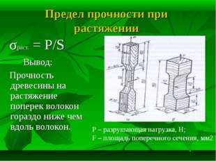 Предел прочности при растяжении σраст. = P/S Вывод: Прочность древесины на ра