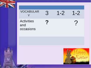 VOCABULARY 	3	1-2	1-2 Activities and occasions 	?		?