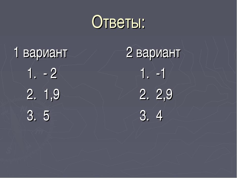 Ответы: 1 вариант 1. - 2 2. 1,9 3. 5 2 вариант 1. -1 2. 2,9 3. 4