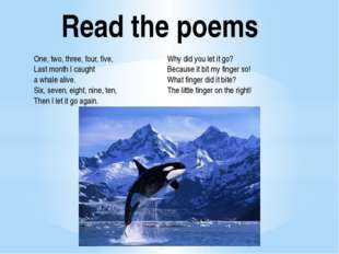 Read the poems One, two, three, four, five, Last month I caught a whale alive