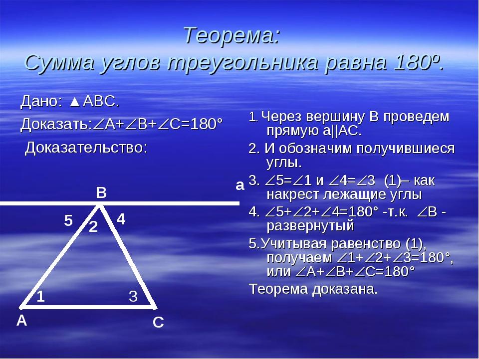 Теорема: Сумма углов треугольника равна 180º. Дано: ▲АВС. Доказать:А+В+С=1...