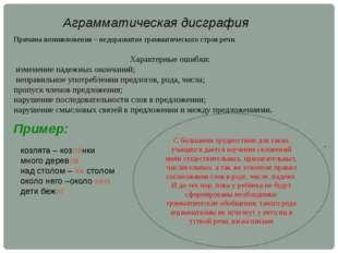 Аграмматическая дисграфия Причина возникновения – недоразвитие грамматическог
