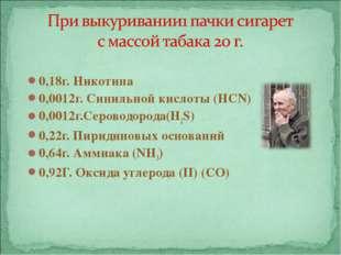 0,18г. Никотина 0,0012г. Синильной кислоты (HCN) 0,0012г.Сероводорода(H2S) 0,