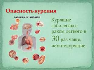 Курящие заболевают раком легкого в 30 раз чаще, чем некурящие.