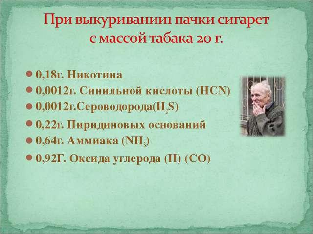 0,18г. Никотина 0,0012г. Синильной кислоты (HCN) 0,0012г.Сероводорода(H2S) 0,...