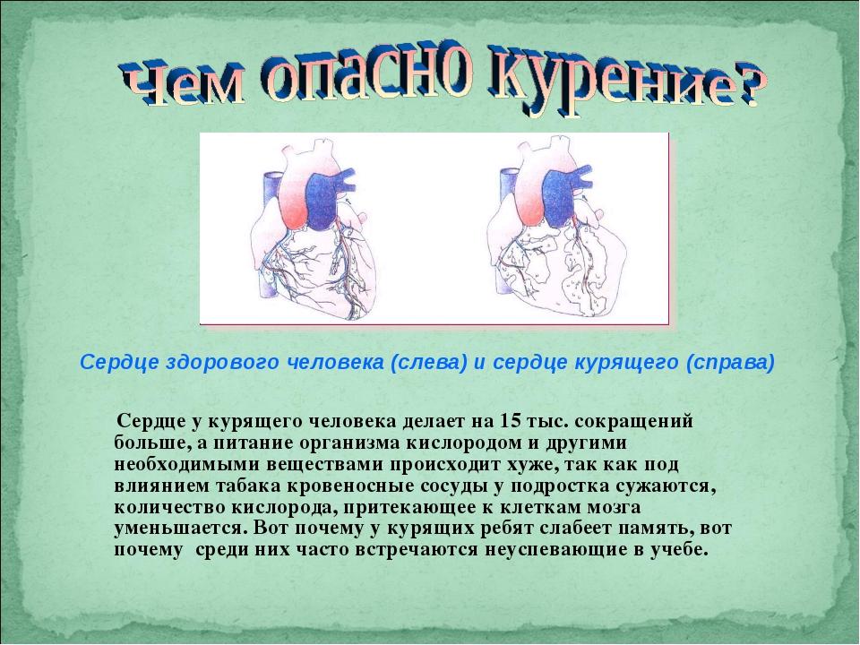 Сердце у курящего человека делает на 15 тыс. сокращений больше, а питание орг...