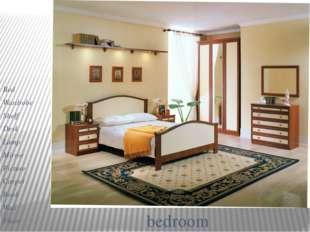 bedroom Bed Wardrobe Shelf Desk Lamp Mirror Picture Carpet Book Wall Floor