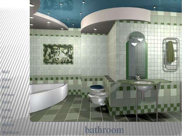 bathroom Wall Floor Bath Picture Toilet Lamp Mirror Shower Washbasin