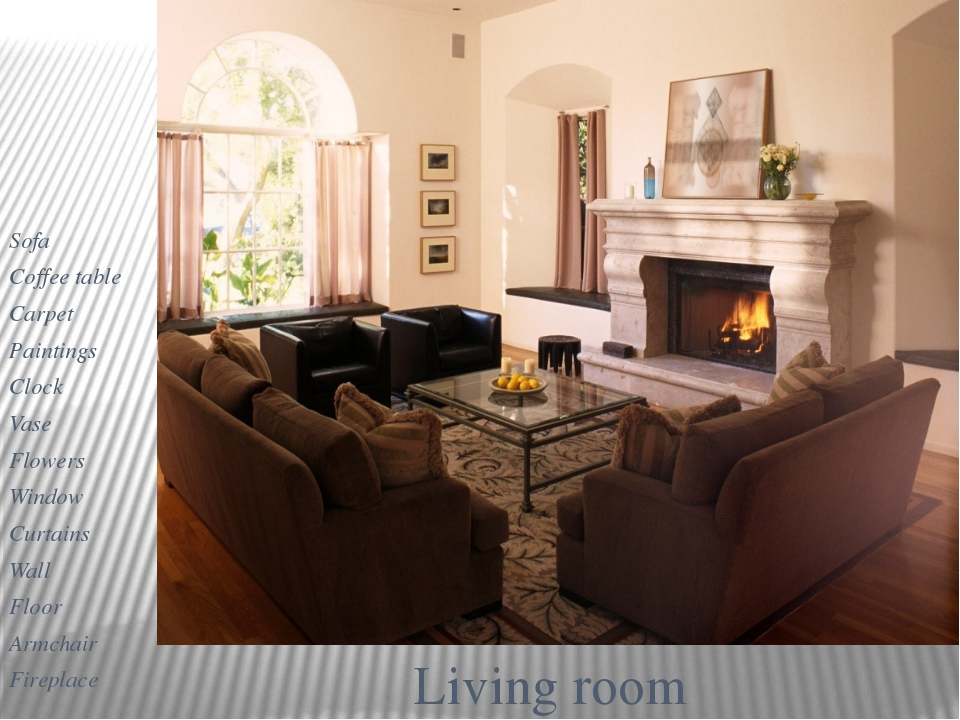 Living room Sofa Coffee table Carpet Paintings Clock Vase Flowers Window Curt...