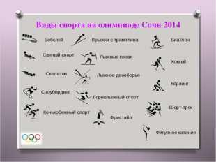 Виды спорта на олимпиаде Сочи 2014 Биатлон Бобслей Горнолыжный спорт Кёрлинг