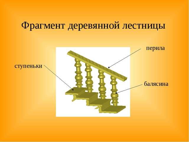 Фрагмент деревянной лестницы ступеньки перила балясина