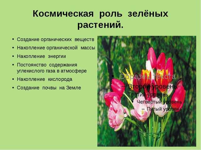 Космическая роль зелёных растений. Создание органических веществ Накопление о...