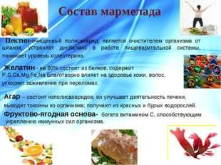 Состав мармелада Фруктово-ягодная основа- богата витамином С, способствующим