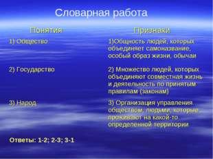 Словарная работа Ответы: 1-2; 2-3; 3-1 Понятия Признаки 1) Общество1)Общнос