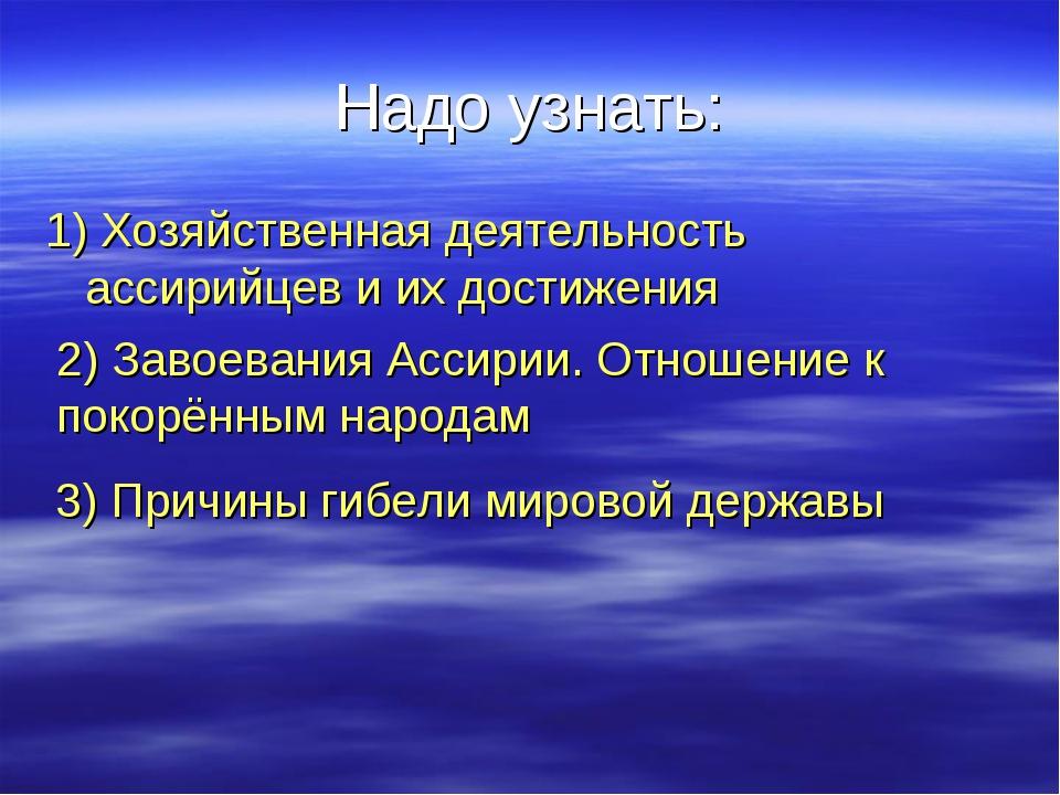 Надо узнать: 1) Хозяйственная деятельность ассирийцев и их достижения 2) Заво...