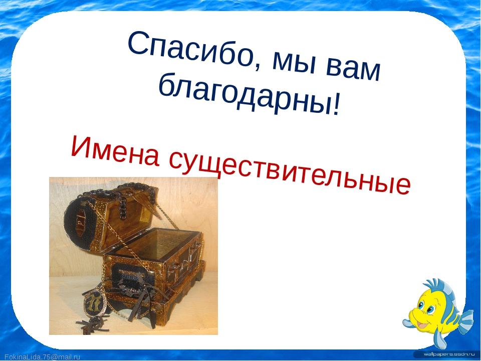Спасибо, мы вам благодарны! Имена существительные FokinaLida.75@mail.ru Fokin...