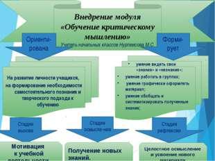 Внедрение модуля «Обучение критическому мышлению» Учитель начальных классов Н