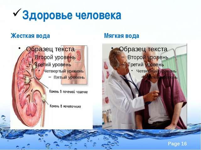 Здоровье человека Жесткая вода Мягкая вода Page