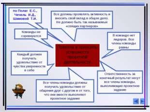 по Полат Е.С., Чечель И.Д., Шамовой Т.И. Правила и принципы успешности проект