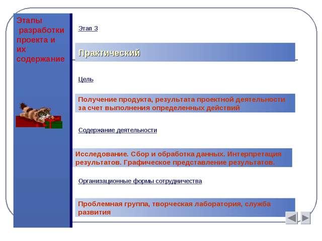 Этапы разработки проекта и их содержание Практический Цель Получение продукта...