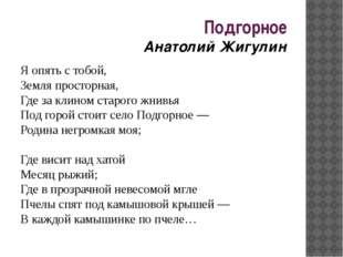 Подгорное Анатолий Жигулин Я опять с тобой, Земля просторная, Где за клином с