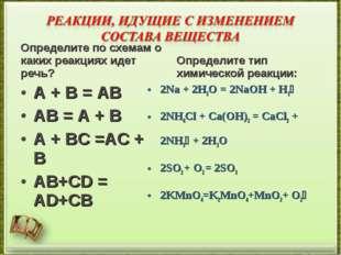 Определите по схемам о каких реакциях идет речь? A + B = AB AB = A + B A + BC