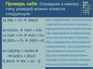 Проверь себя. Определи к какому типу реакций можно отнести следующие: a) 2Na