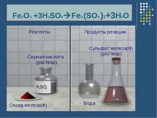 Fe2O3 +3H2SO4Fe2 (SO4 )3+3H2O