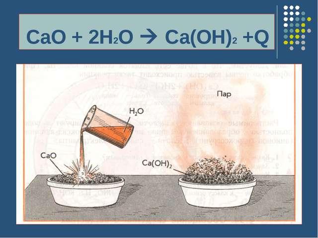 CaO + 2H2O  Ca(OH)2 +Q