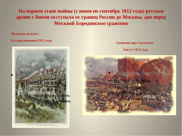 На первом этапе войны (с июня по сентябрь 1812 года) русская армия с боями от...