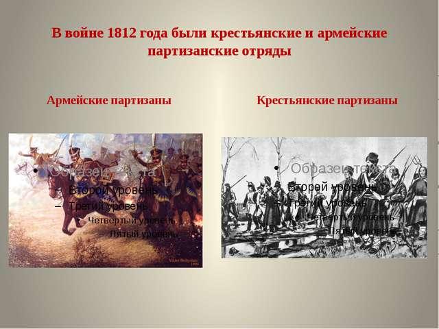 В войне 1812 года были крестьянские и армейские партизанские отряды Армейские...