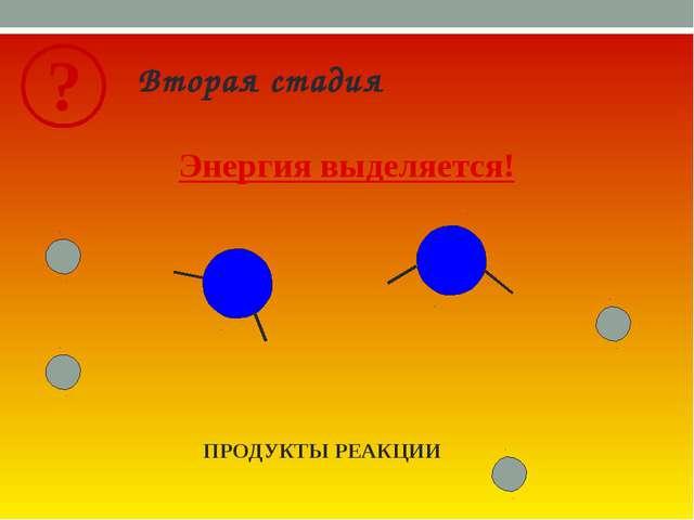 Вторая стадия ПРОДУКТЫ РЕАКЦИИ Энергия выделяется!